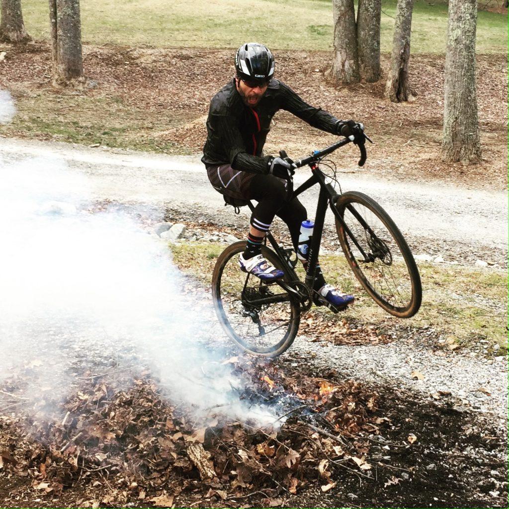 road biker doing a wheelie