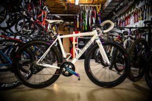 Garage packed with bikes, Litespeed on display